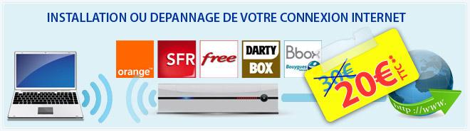 promo: installation ou dépannage connexion Internet pour 40€ TTC (20€ TTC après déduction)